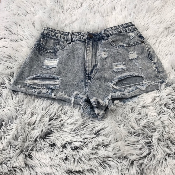 Forever 21 Pants - Forever 21 Heavily Distressed Acid Wash Shorts